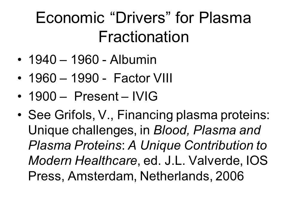 Economic Drivers for Plasma Fractionation 1940 – 1960 - Albumin 1960 – 1990 - Factor VIII 1900 – Present – IVIG See Grifols, V., Financing plasma proteins: Unique challenges, in Blood, Plasma and Plasma Proteins: A Unique Contribution to Modern Healthcare, ed.