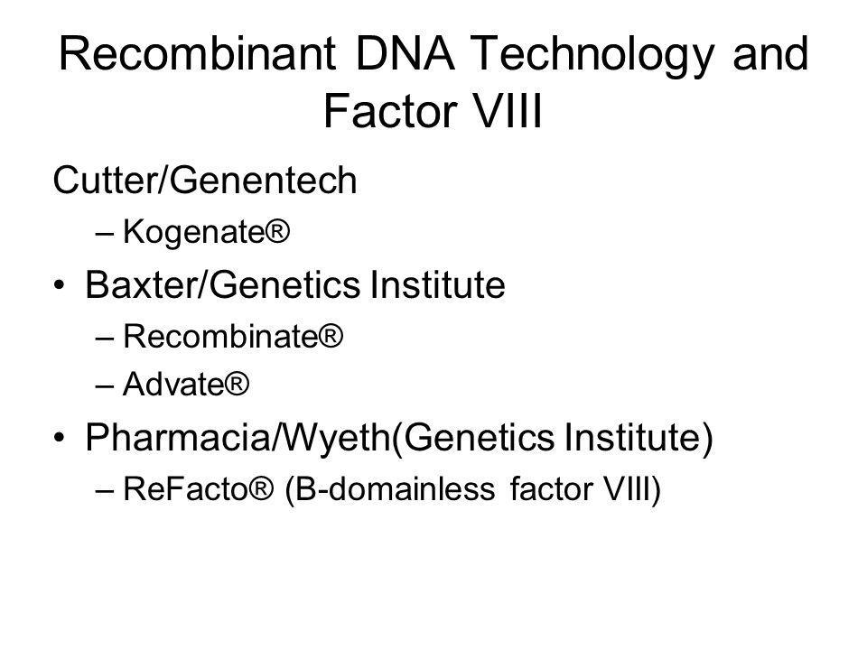 Recombinant DNA Technology and Factor VIII Cutter/Genentech –Kogenate® Baxter/Genetics Institute –Recombinate® –Advate® Pharmacia/Wyeth(Genetics Institute) –ReFacto® (B-domainless factor VIII)