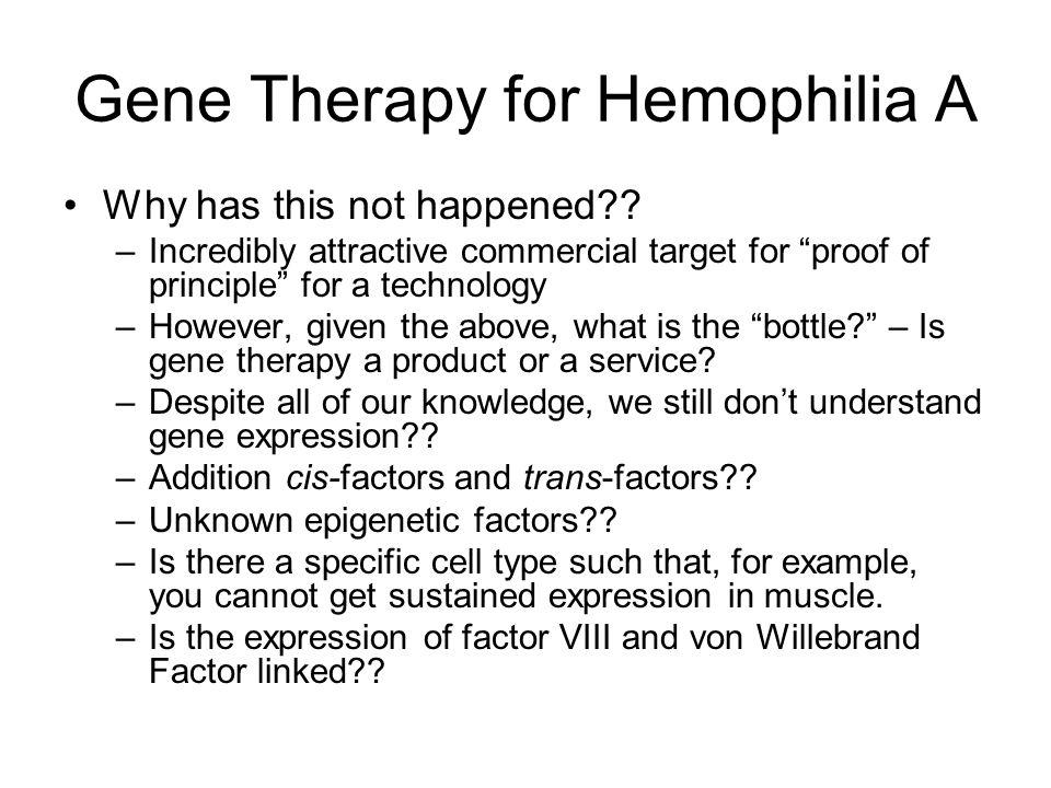 Gene Therapy for Hemophilia A Why has this not happened?.