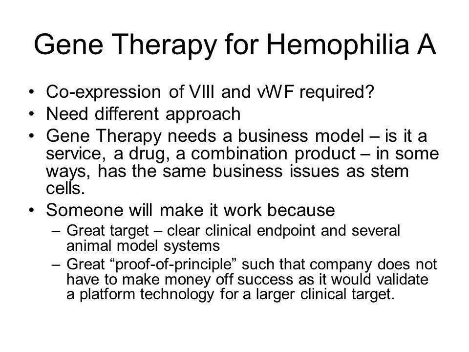 Gene Therapy for Hemophilia A Co-expression of VIII and vWF required.