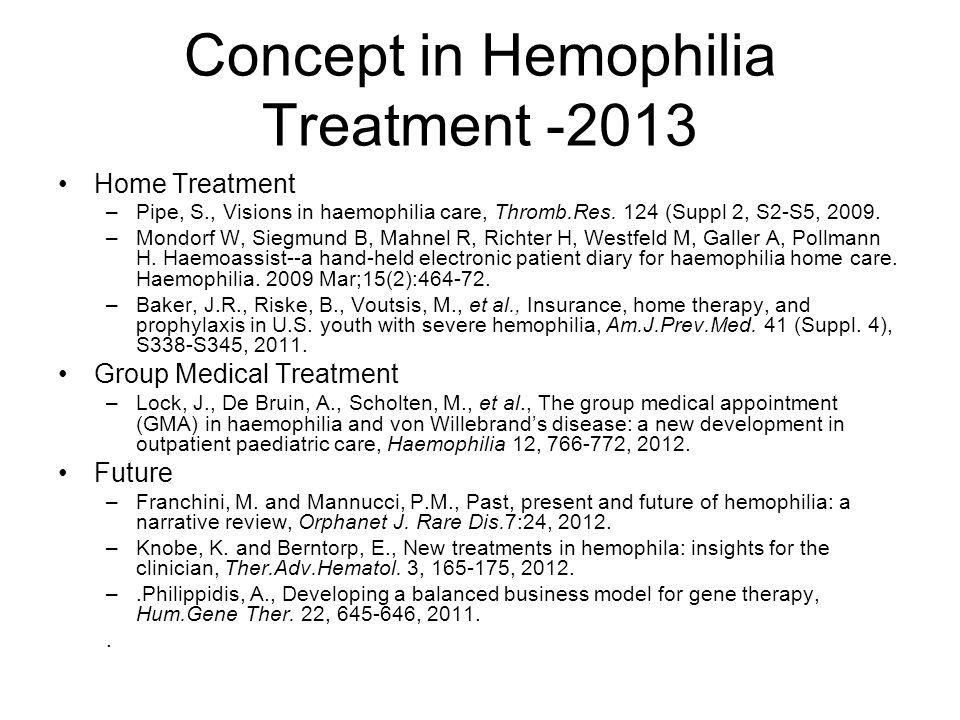 Concept in Hemophilia Treatment -2013 Home Treatment –Pipe, S., Visions in haemophilia care, Thromb.Res. 124 (Suppl 2, S2-S5, 2009. –Mondorf W, Siegmu