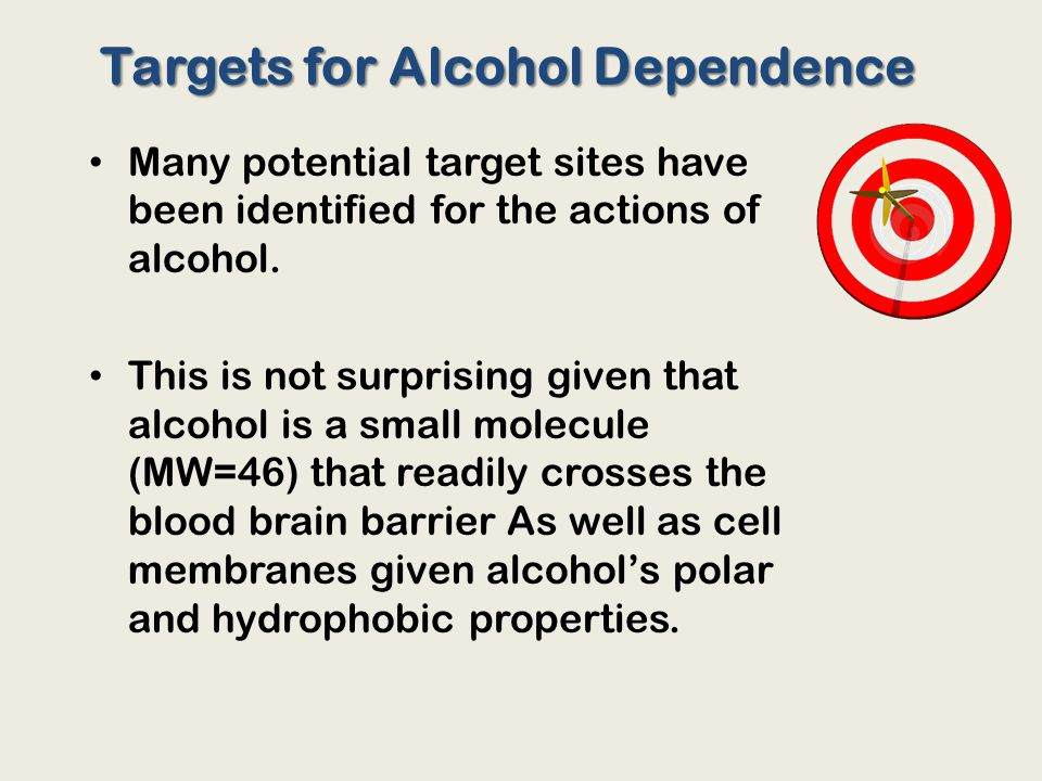 Many potential target sites have been identified for the actions of alcohol.