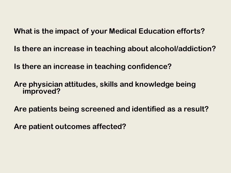 What is the impact of your Medical Education efforts.