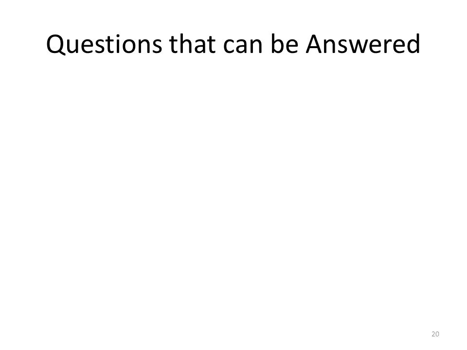Questions that can be Answered 20