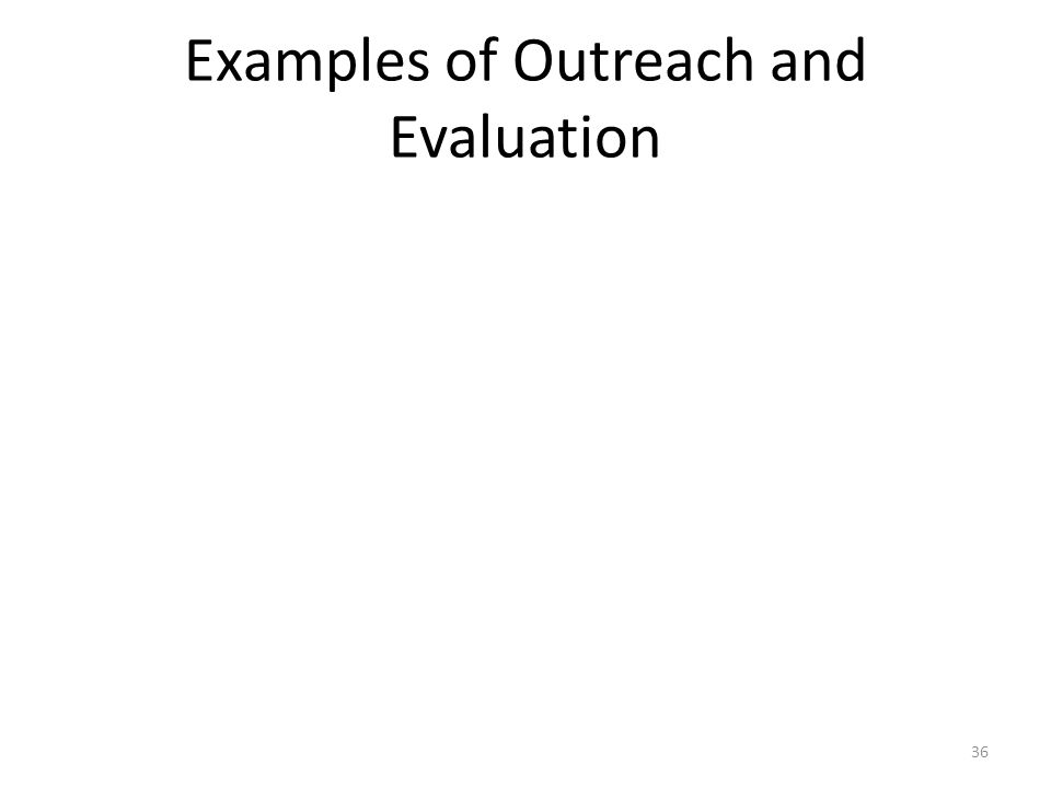 Examples of Outreach and Evaluation 36