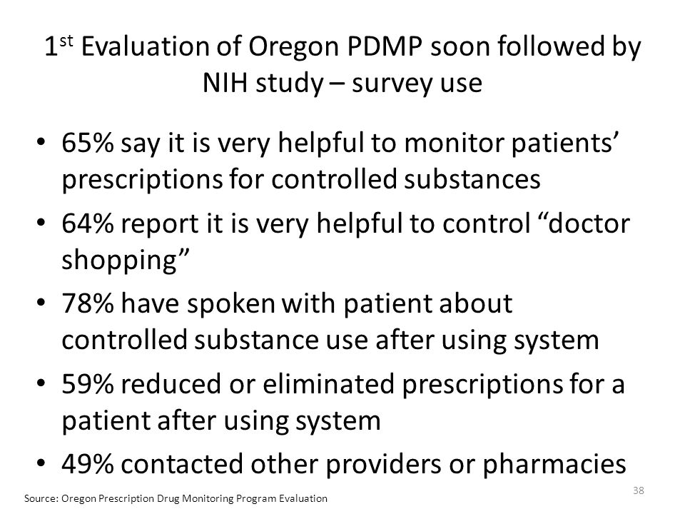 1 st Evaluation of Oregon PDMP soon followed by NIH study – survey use 65% say it is very helpful to monitor patients' prescriptions for controlled su