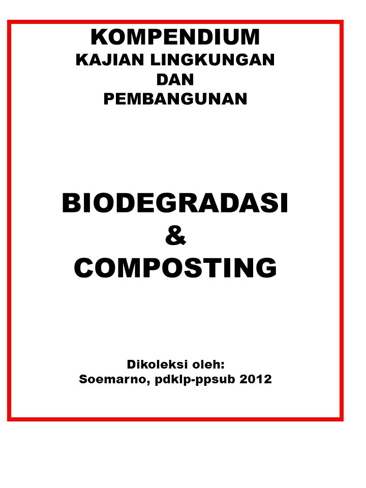 Ratio C/N, C/P and C/S  naturally existing in biomass  naturally existing in biomass C – source of energy for heterotrophic microorganisms; N – important for syntesis of protheins C 1/3 digunakan oleh mikroba 2/3 menjadi CO 2 30 atoms C : 1 atom N C/N > 30 Inhibited decomposing process; Increased composting time C/N < 30 Excess of N that leads to release of NH 3 NH 3 is stimulated by:  t,  N,  pH C/N: Important: balanced ratio C/N C/P: P acts as a catalyst of biochemical reactions.