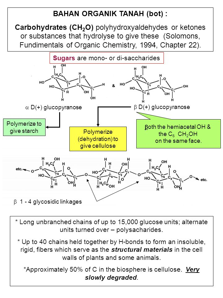  1 - 4 glycosidic linkages * Long unbranched chains of up to 15,000 glucose units; alternate units turned over – polysacharides. * Up to 40 chains he