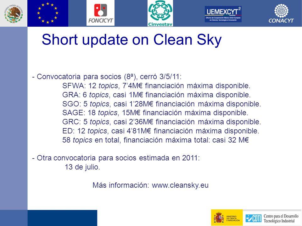 - Convocatoria para socios (8ª), cerró 3/5/11: SFWA: 12 topics, 7'4M€ financiación máxima disponible.