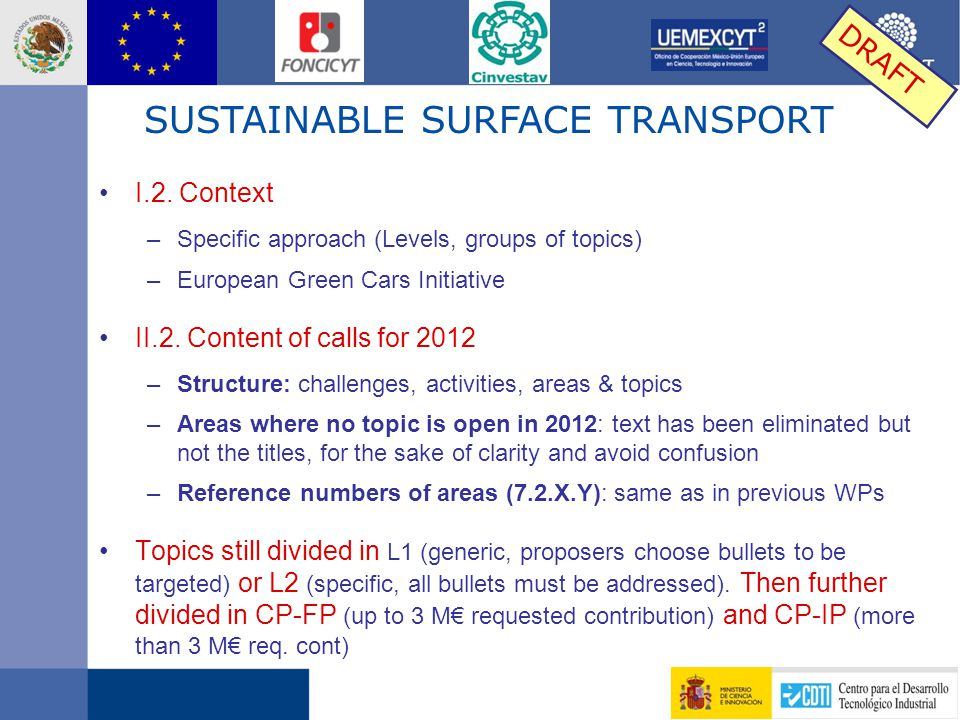 I.2. Context –Specific approach (Levels, groups of topics) –European Green Cars Initiative II.2.
