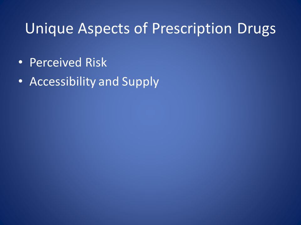 Unique Aspects of Prescription Drugs Perceived Risk Accessibility and Supply
