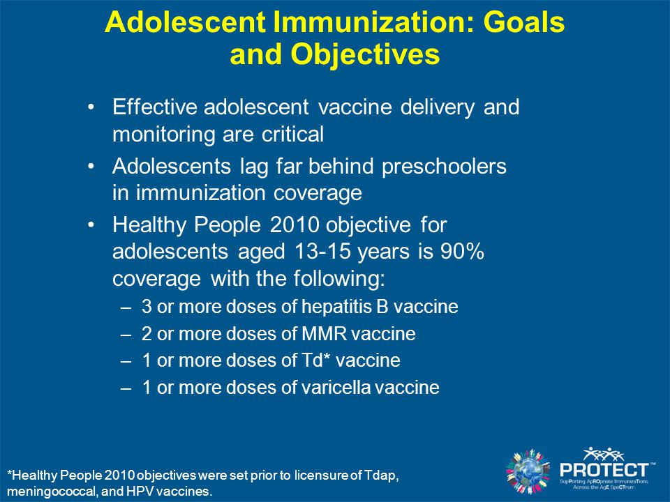 Adolescent Immunization: Goals and Objectives Effective adolescent vaccine delivery and monitoring are critical Adolescents lag far behind preschooler