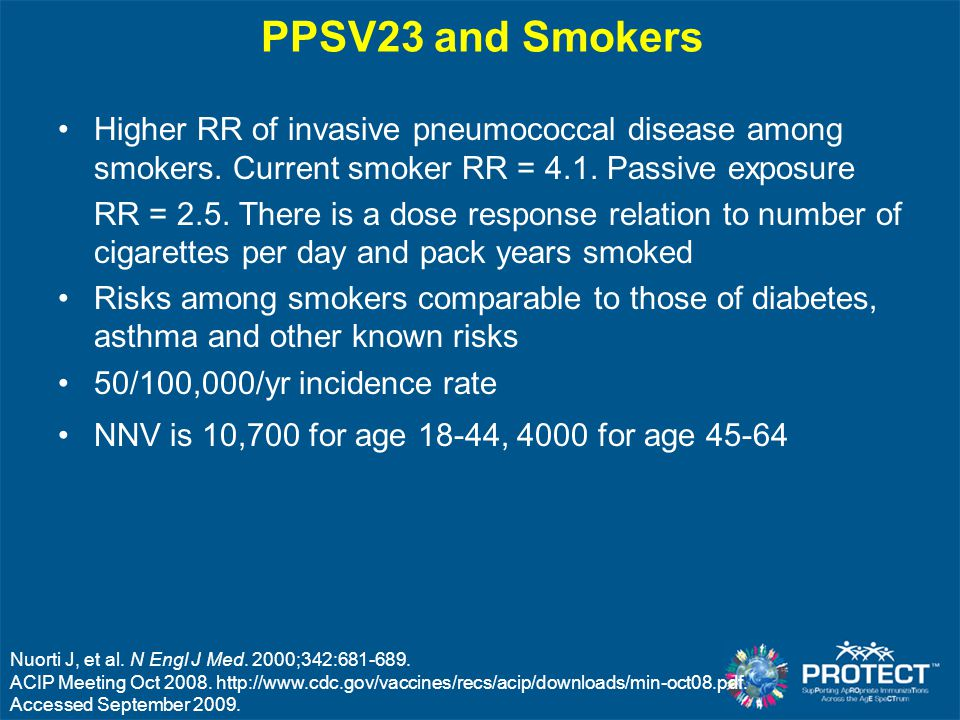 PPSV23 and Smokers Higher RR of invasive pneumococcal disease among smokers. Current smoker RR = 4.1. Passive exposure RR = 2.5. There is a dose respo