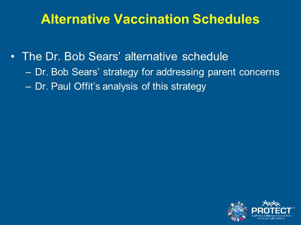 Alternative Vaccination Schedules The Dr. Bob Sears' alternative schedule –Dr. Bob Sears' strategy for addressing parent concerns –Dr. Paul Offit's an