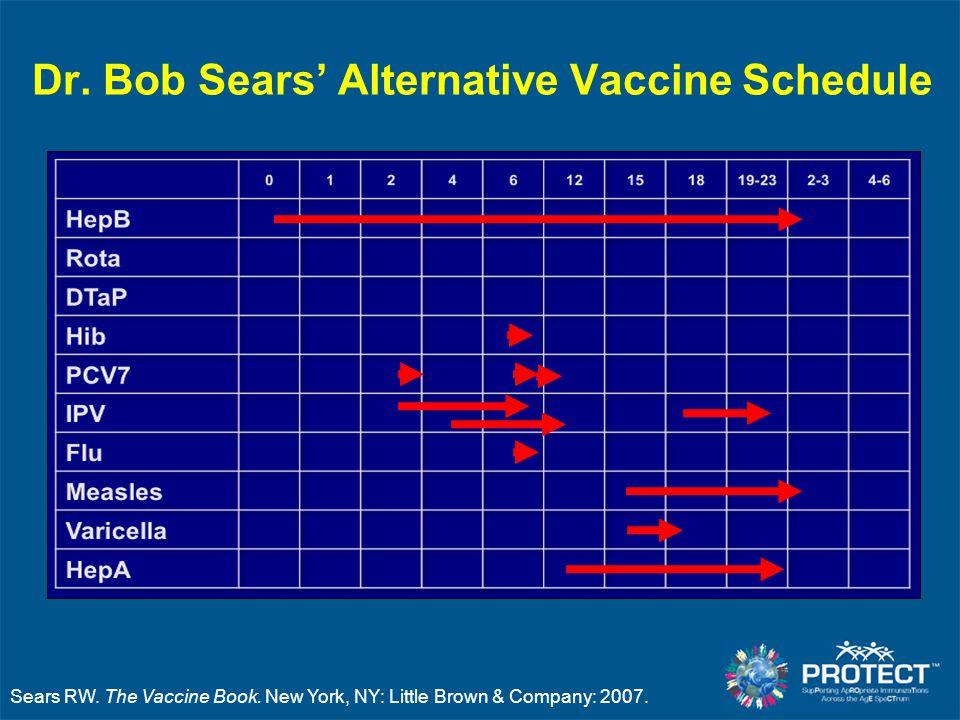 Dr. Bob Sears' Alternative Vaccine Schedule Sears RW. The Vaccine Book. New York, NY: Little Brown & Company: 2007.