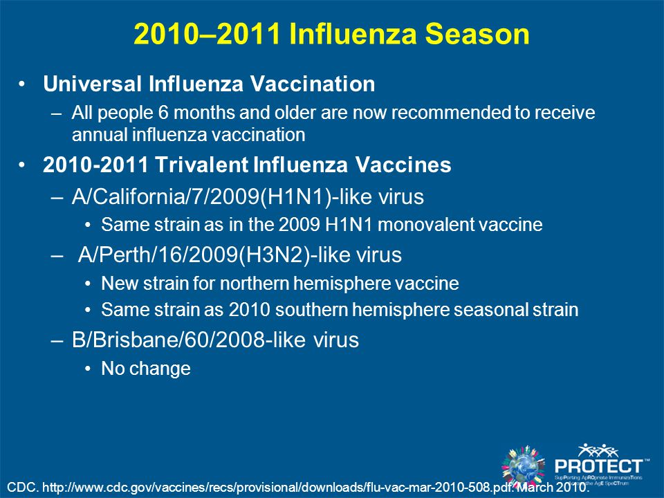2010–2011 Influenza Season Universal Influenza Vaccination –All people 6 months and older are now recommended to receive annual influenza vaccination