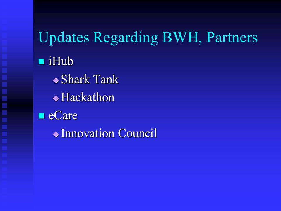 Updates Regarding BWH, Partners iHub iHub  Shark Tank  Hackathon eCare eCare  Innovation Council