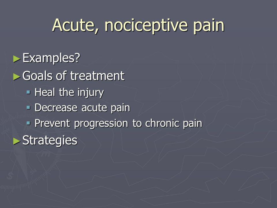 Acute, nociceptive pain ► Examples.