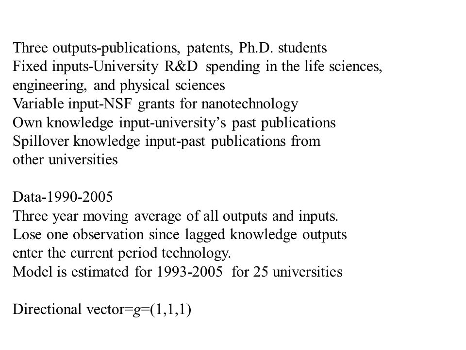 Three outputs-publications, patents, Ph.D. students Fixed inputs-University R&D spending in the life sciences, engineering, and physical sciences Vari