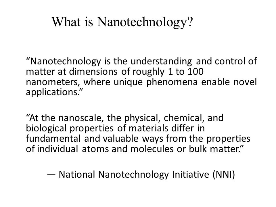 """Nanotechnology is the understanding and control of matter at dimensions of roughly 1 to 100 nanometers, where unique phenomena enable novel applicati"
