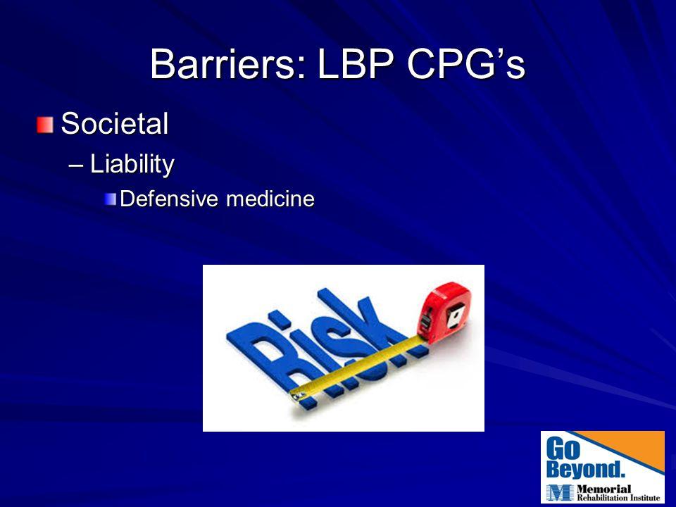 Barriers: LBP CPG's Societal –Liability Defensive medicine
