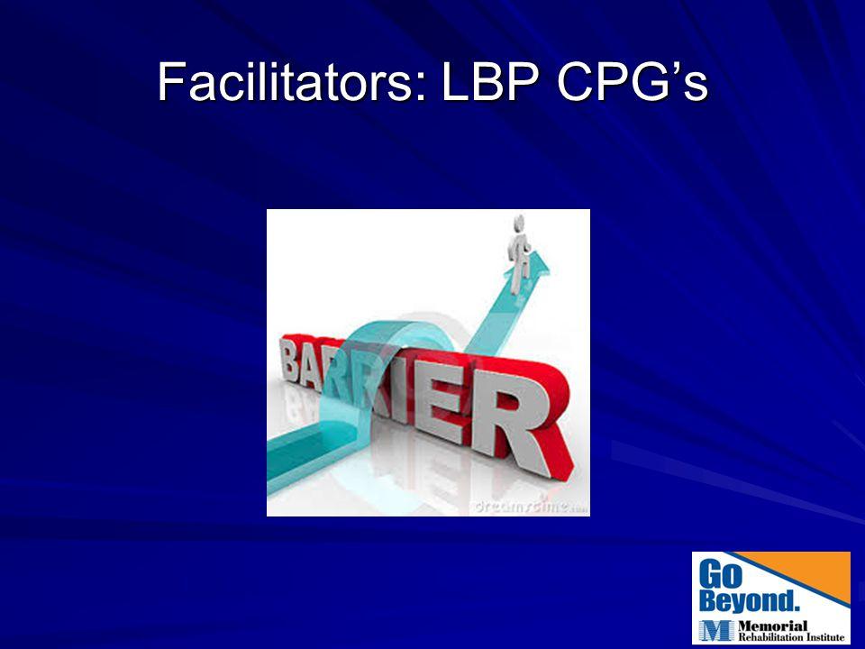 Facilitators: LBP CPG's