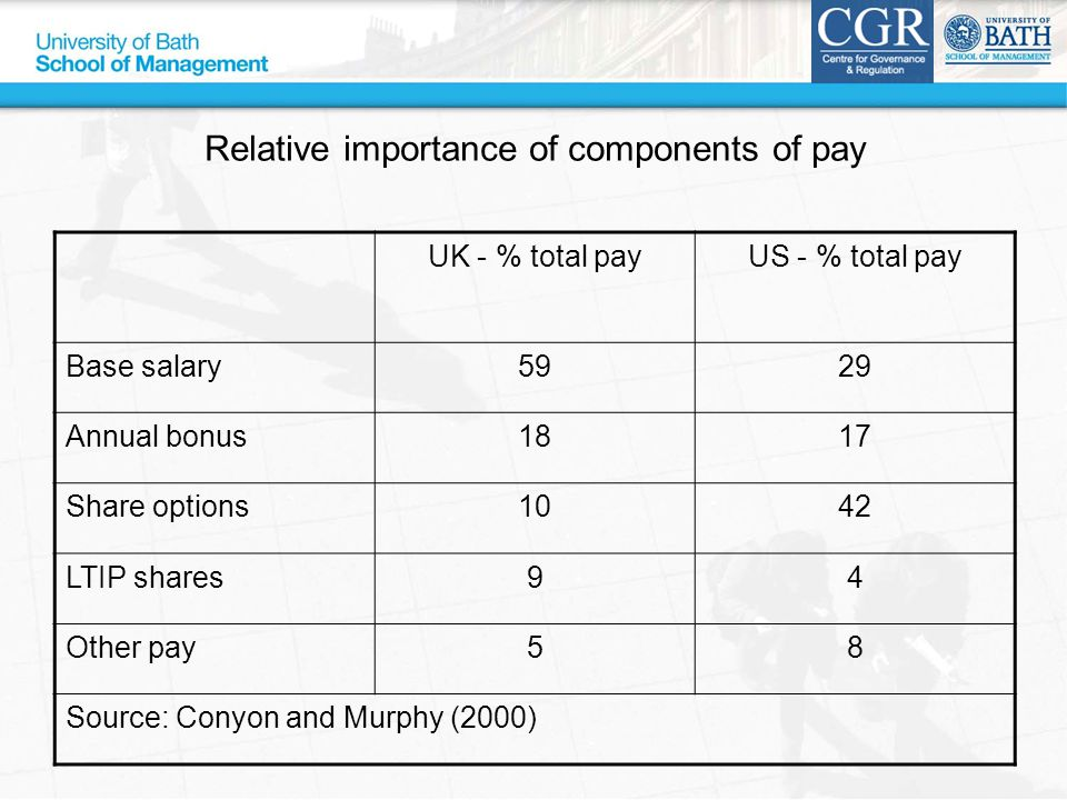 Relative importance of components of pay UK - % total payUS - % total pay Base salary5929 Annual bonus1817 Share options1042 LTIP shares94 Other pay58 Source: Conyon and Murphy (2000)
