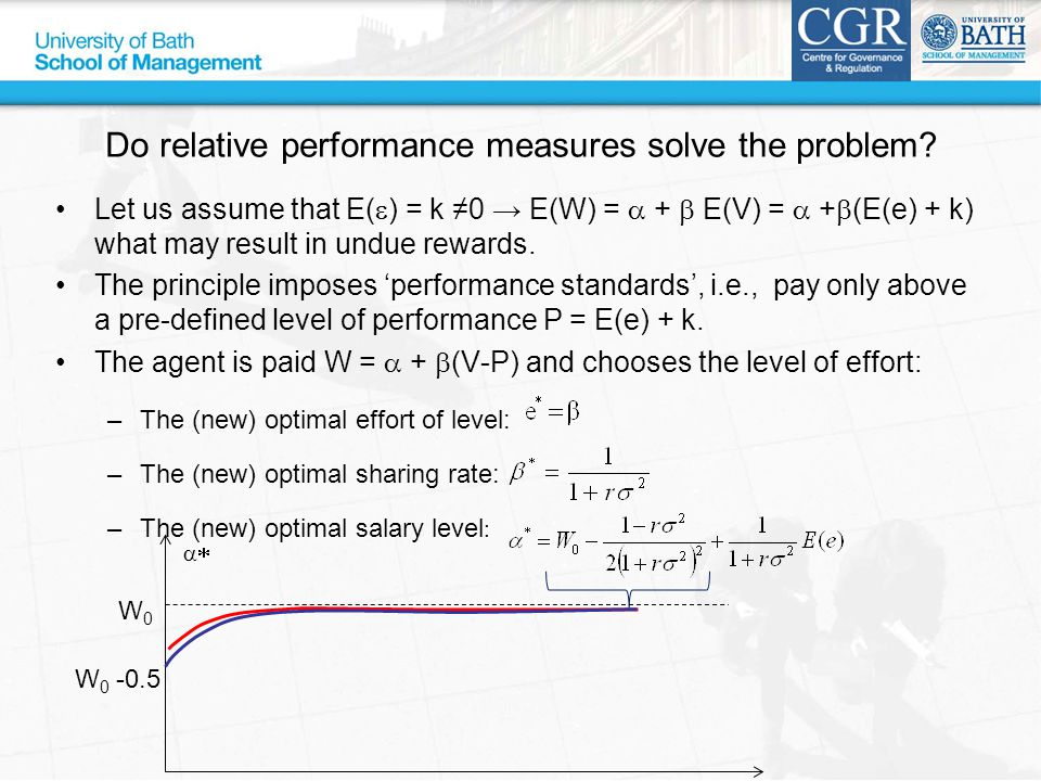 Do relative performance measures solve the problem? Let us assume that E(  ) = k ≠0 → E(W) =  +  E(V) =  +  (E(e) + k) what may result in undue r