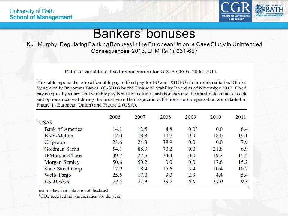 Bankers' bonuses K.J.