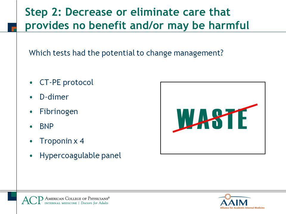 Step 2: Decrease or eliminate care that provides no benefit and/or may be harmful Which tests had the potential to change management.