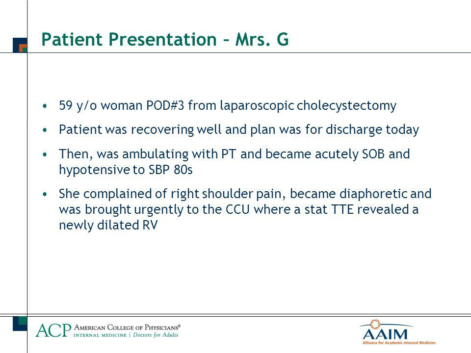 Patient Presentation – Mrs. G 59 y/o woman POD#3 from laparoscopic cholecystectomy Patient was recovering well and plan was for discharge today Then,