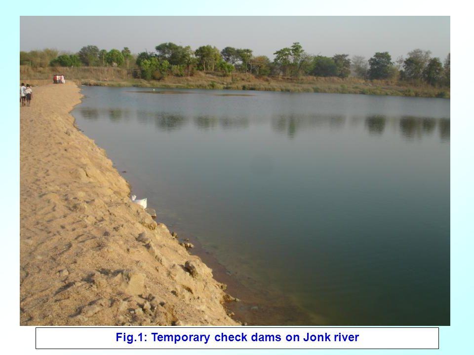 Fig.2: Temporary check dams on nala.