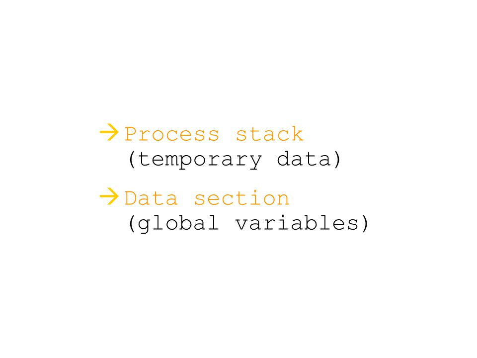   Process stack (temporary data)   Data section (global variables)