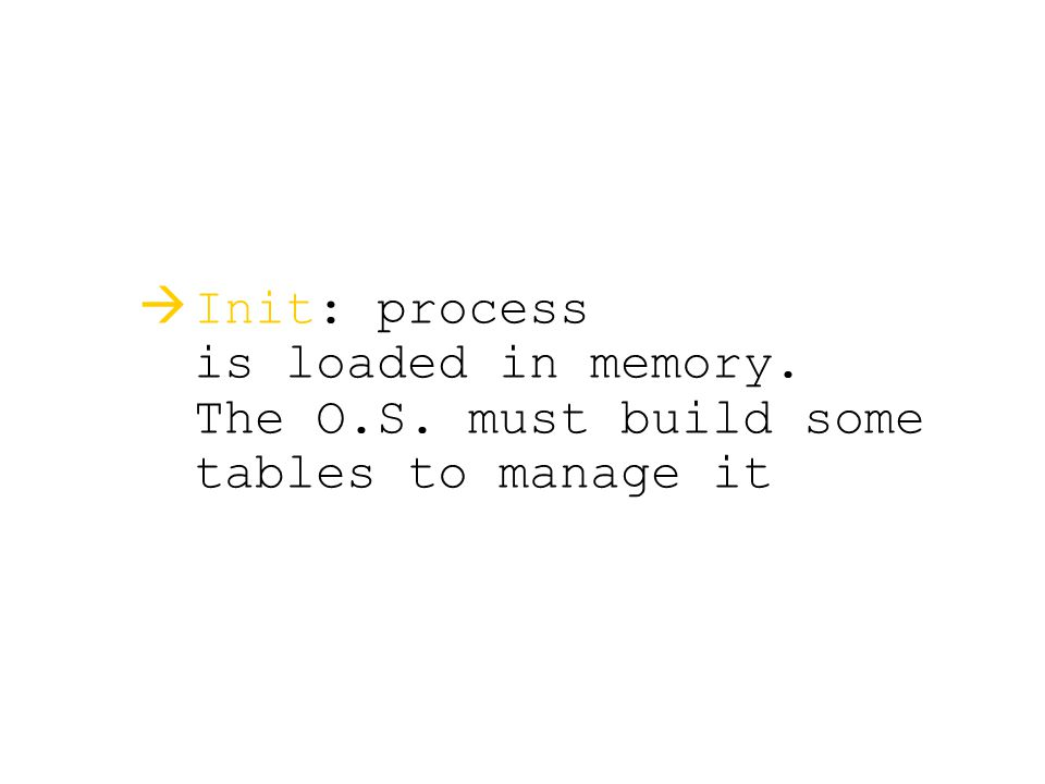   Init: process is loaded in memory. The O.S. must build some tables to manage it