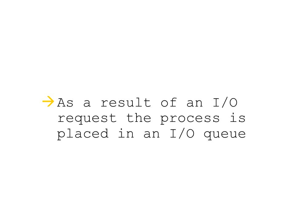  As a result of an I/O request the process is placed in an I/O queue