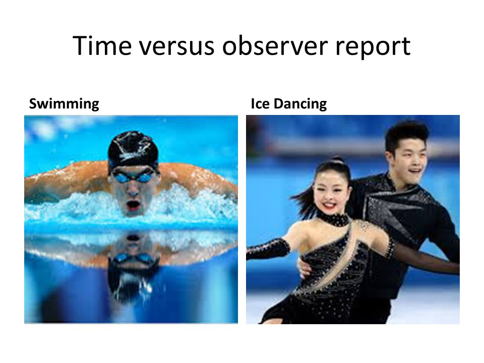 Time versus observer report SwimmingIce Dancing