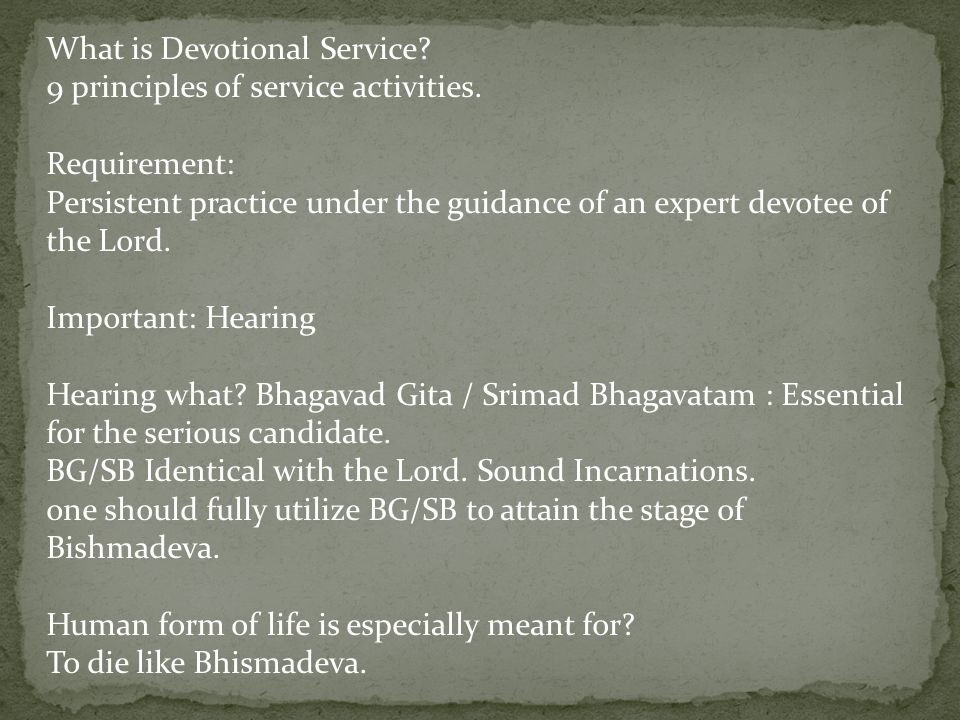 What is Devotional Service.9 principles of service activities.