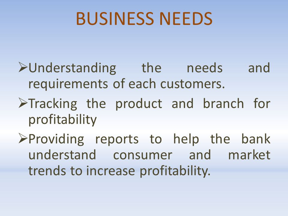BUSINESS NEEDS  Understanding the needs and requirements of each customers.
