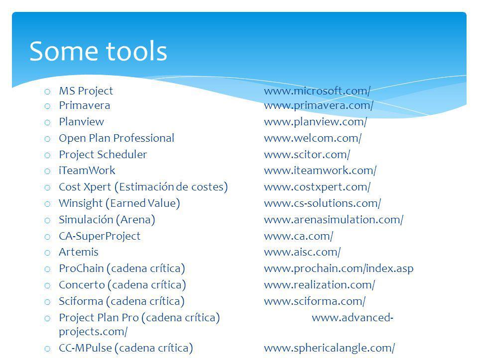Some tools o MS Projectwww.microsoft.com/ o Primaverawww.primavera.com/ o Planviewwww.planview.com/ o Open Plan Professionalwww.welcom.com/ o Project Schedulerwww.scitor.com/ o iTeamWork www.iteamwork.com/ o Cost Xpert (Estimación de costes)www.costxpert.com/ o Winsight (Earned Value) www.cs-solutions.com/ o Simulación (Arena) www.arenasimulation.com/ o CA-SuperProjectwww.ca.com/ o Artemis www.aisc.com/ o ProChain (cadena crítica) www.prochain.com/index.asp o Concerto (cadena crítica) www.realization.com/ o Sciforma (cadena crítica) www.sciforma.com/ o Project Plan Pro (cadena crítica)www.advanced- projects.com/ o CC-MPulse (cadena crítica) www.sphericalangle.com/