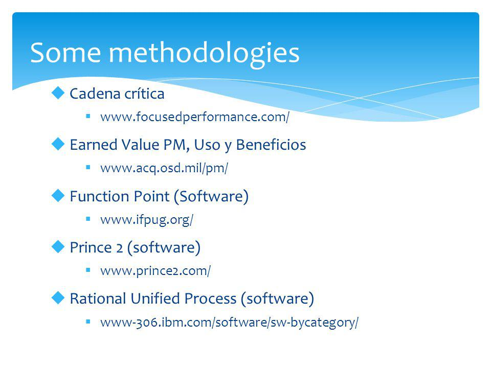 Some methodologies  Cadena crítica  www.focusedperformance.com/  Earned Value PM, Uso y Beneficios  www.acq.osd.mil/pm/  Function Point (Software