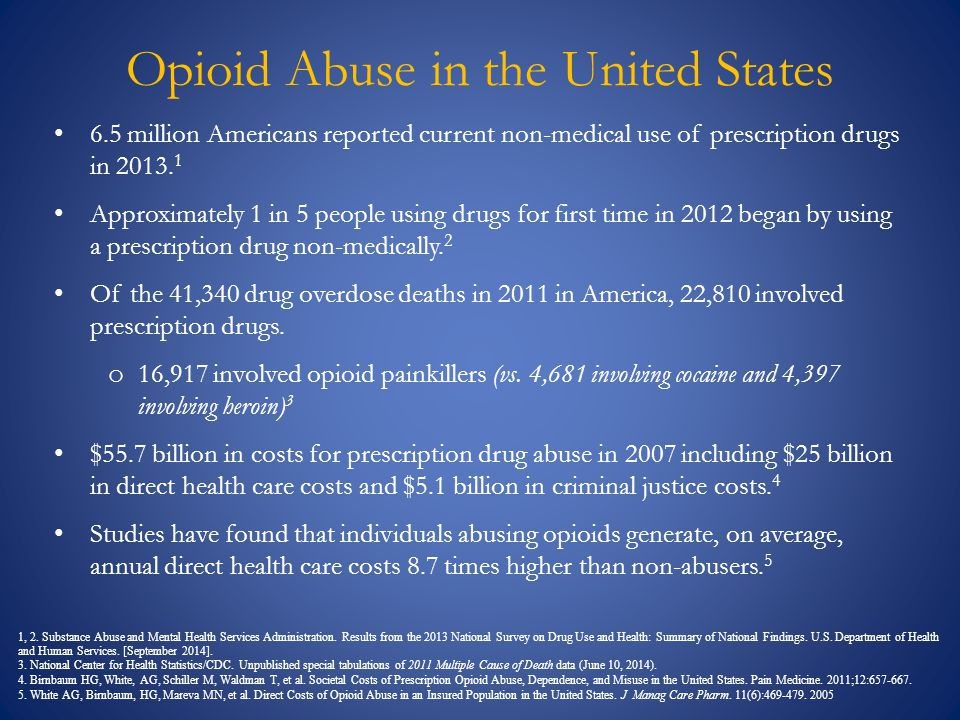 Opioid Abuse in the United States 6.5 million Americans reported current non-medical use of prescription drugs in 2013. 1 Approximately 1 in 5 people