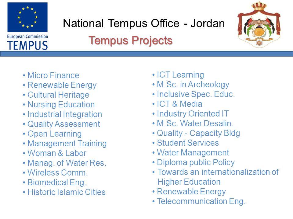 National Tempus Office - Jordan Project NoProject TitleJordanian UniversitiesEUSyrian Universities 30003-2002Micro Finance at the University (MFU) University of JordanGR, IT, ES, UK Al-Baath University Damascus University 30078-2002Training of Industrial System Integration Al-Balqa Applied University BE, FR, DE, UK Damascus University 30092-2002Quality Assessment – MEDA Region (QAMR) University of Jordan Jordan Univ.