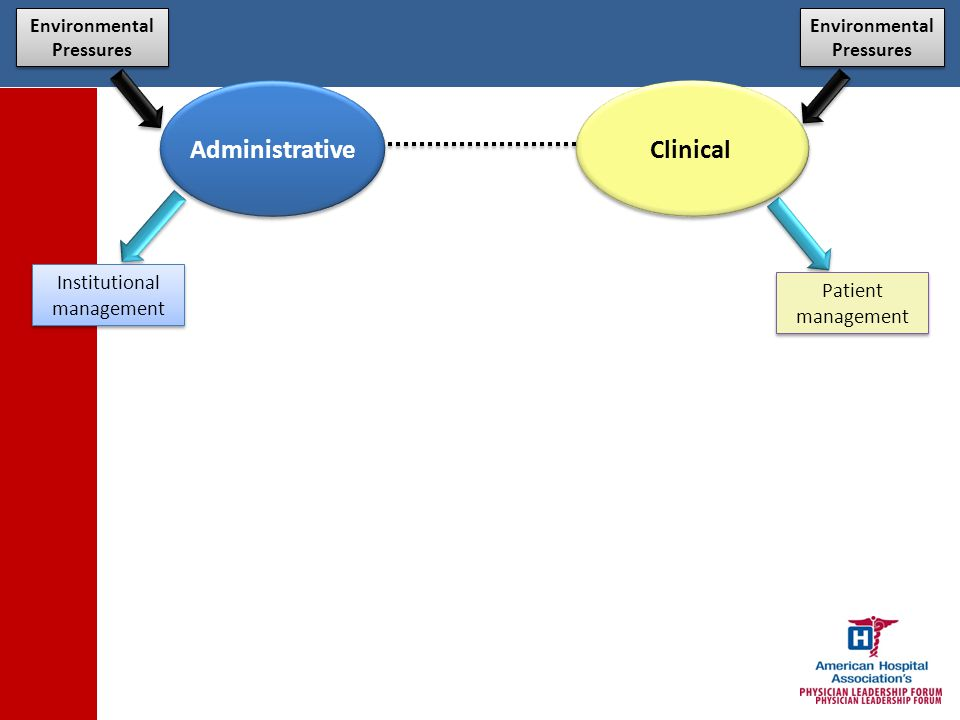 Clinical Patient management Institutional management Environmental Pressures Transformed Vision Clinical Management Population management Administrative