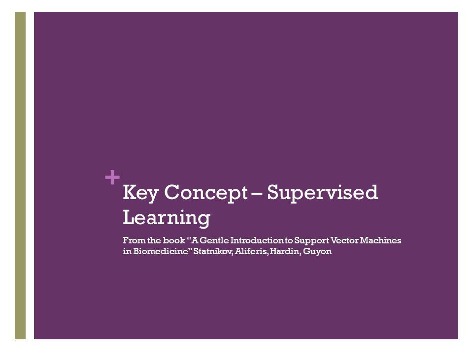 "+ Key Concept – Supervised Learning From the book ""A Gentle Introduction to Support Vector Machines in Biomedicine"" Statnikov, Aliferis, Hardin, Guyon"