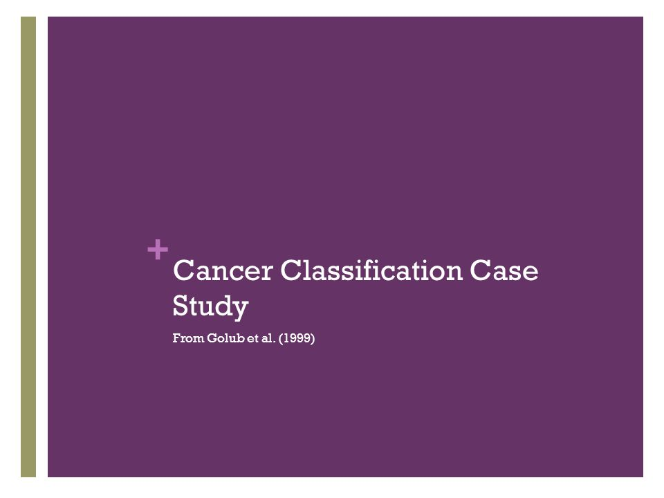 + Cancer Classification Case Study From Golub et al. (1999)