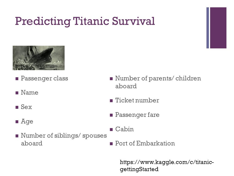 Predicting Titanic Survival Passenger class Name Sex Age Number of siblings/ spouses aboard Number of parents/ children aboard Ticket number Passenger