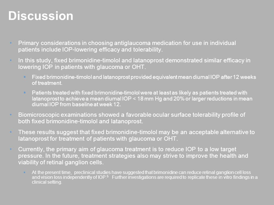 Conclusions Fixed-combination brimonidine-timolol was as effective as latanoprost in reducing IOP in patients with glaucoma or OHT.