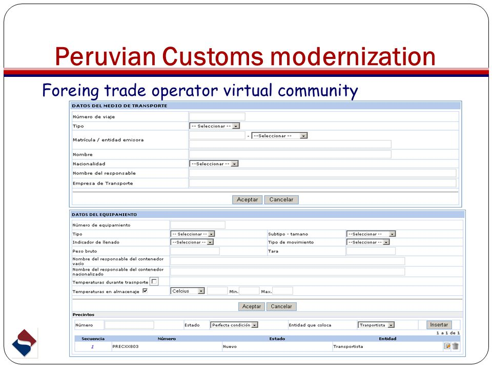 Peruvian Customs modernization Foreing trade operator virtual community