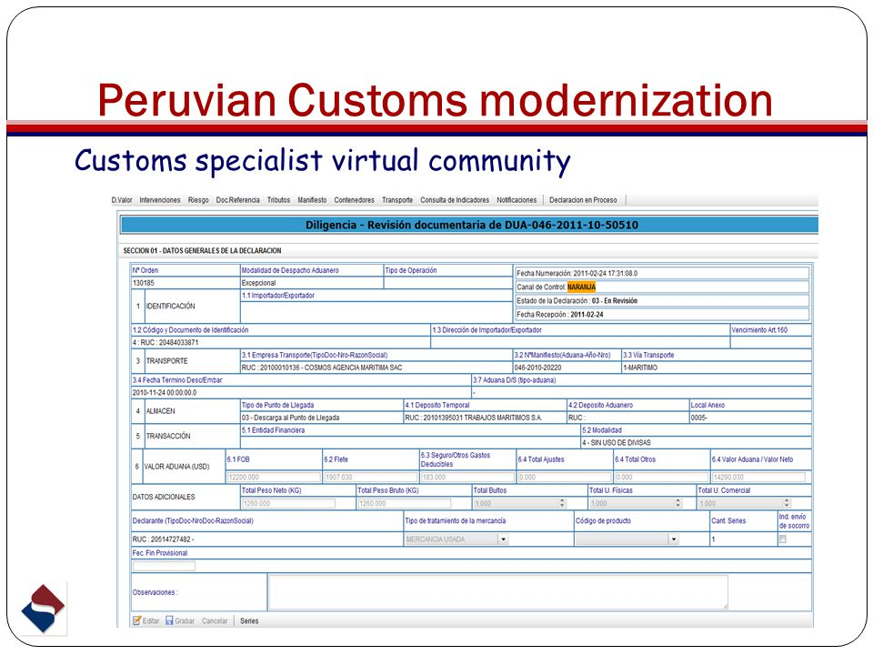 Customs specialist virtual community Peruvian Customs modernization
