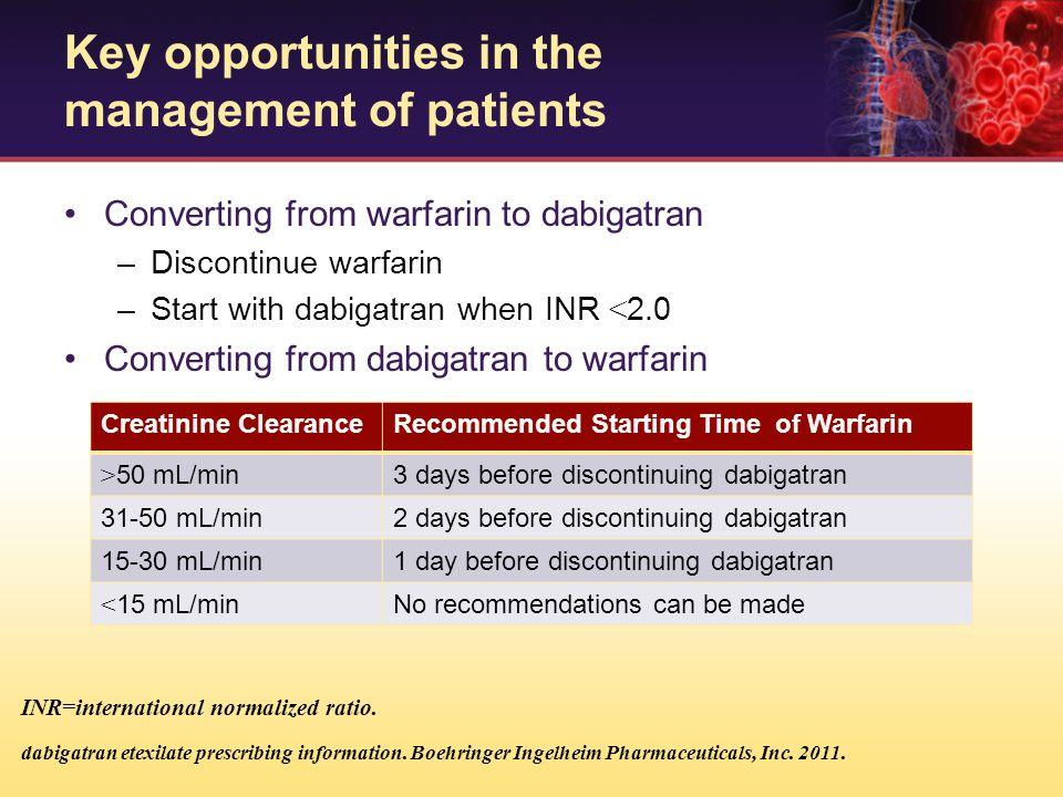 Converting from warfarin to dabigatran –Discontinue warfarin –Start with dabigatran when INR < 2.0 Converting from dabigatran to warfarin Creatinine C